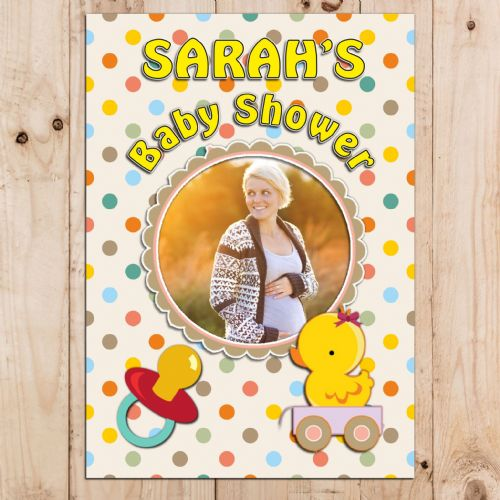 Personalised Baby Shower Party PHOTO Poster Banner N39 Unisex Yellow Ducky